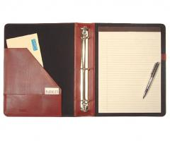 """3/4"""" and 1"""" Leather 3 Ring Binder with Writing Pad"""