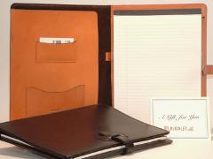 Leather Writing Padfolio with Slide Tab