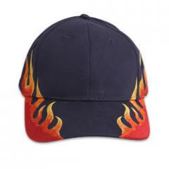 Navy Blue Cap w/Embroidered Flames