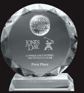 Medium Optical Crystal Golf Sunflower Award