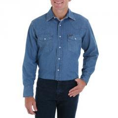 Wrangler Stonewashed Western Denim Shirt