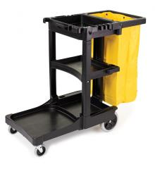 Rubbermaid Black Janitor Cleaning Cart