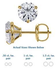14K Yellow Gold Martini Style Diamond Stud