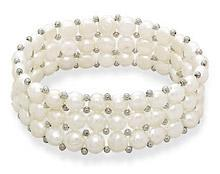 3 Row Cultured Freshwater Button Pearl Stretch