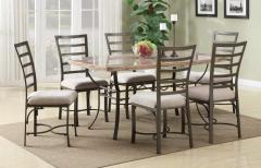Acme Wal 7 Pc Faux Marble Top Dining Set
