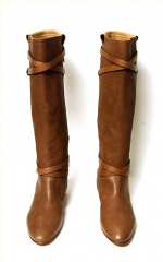 Tan Leather Knee-High Flat Boots w/Buckle 7