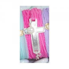Bracelet Pink, Cross Silver