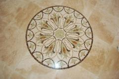 Travertine and marble mosaic