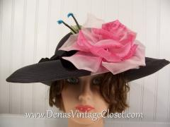 Ladies Vintage 60s Montaldo's Wide Black Straw Hat