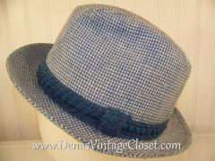 Men's Vintage Blue White Stetson Fedora Hat