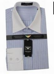 Armani Blue White Stripe Down Shirt