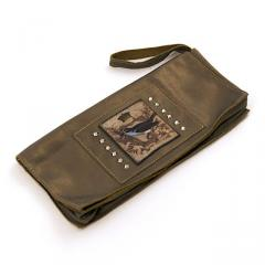 Pewter Leather Clutch