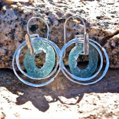 Silver & Ancient Roman Glass Earrings