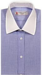 Blue End-on-End Shirt with White Collar &