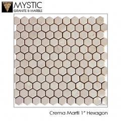 Crema Marfil 1 Inch Hexagon Tile