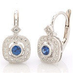 Beverley K 18KW Diamond and Sapphire Earring