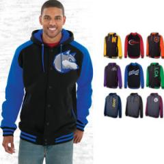 Premium fleece letterman hood sweatshirt