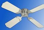 "Brass 12 Volt Ceiling Fan w/White Blades 36"""