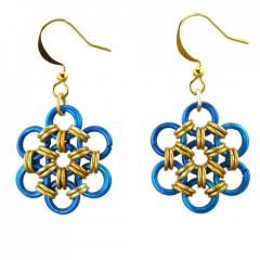 Petite Hana-Gusari in Gold and Blue Earrings