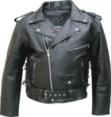 Men's Classic Leather Biker Jacket with Side