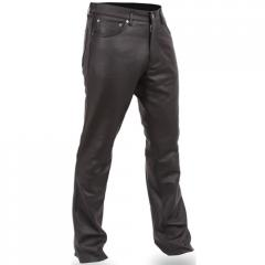 Men's Black Leather Motorcycle Pants - First
