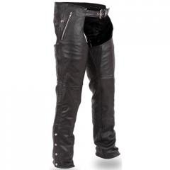Unisex Black Leather Classic Motorcycle Chaps with