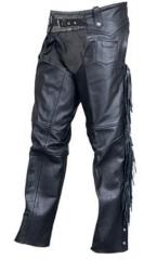 Buffalo Leather Motorcycle Chaps with Back Fringe