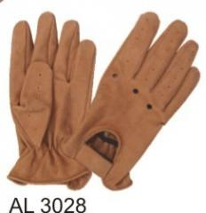 Mens Leather Motorcycle Gloves - Brown Buffalo