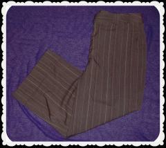 Women's Brown White Stripe Cropped Capri Cuff