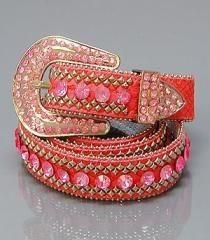Fashion Genuine Leather Belt w/Rhinestone
