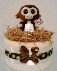 Neutral Monkey Diaper Cake