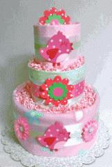 """""""Daisy Chicks"""" Diaper Cake"""