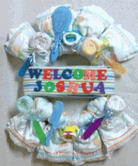 """Welcome Baby"" diaper wreath"