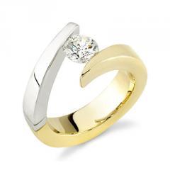 18K Gold Ladies Two Tone Diamond Engagement Ring