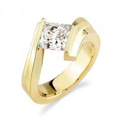 18K Yellow Gold Ladies Tension Set Princess Cut Diamond Engagement Ring (0.50 Carat)