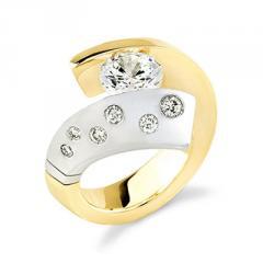 18K Gold Ladies Two Tone Diamond Engagement Ring (0.72 Carat)