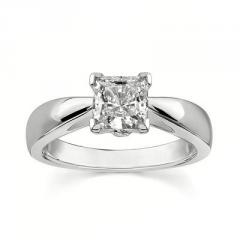 14K White Gold Engagement Ring (1.032 Total Carat) With Side Stone 0.032