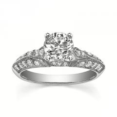 14K White Gold Engagement Ring (1.294 Total Carat) With Center Stone 1 With Side Stone 0.294
