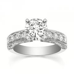 14K White Gold Diamond Ring (1.56 Carat) With Center Stone 1 With Side Stone 0.56