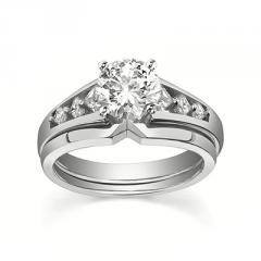 14K White Gold Brilliant Cut Diamond 4-Prong