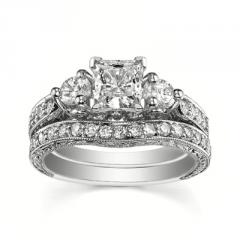 14K White Gold Princess Cut Diamond V-Prong Solitaire Engagement Ring 1.68 Total Carat)