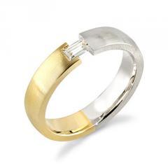 18K Gold Men's Two Tone Diamond Designer Engagement Ring (0.50 Carat)