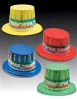 Full size Happy Birthday Cake Hat Assorted