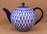 Cobalt Net Russian Imperial Porcelain Teapot - 24
