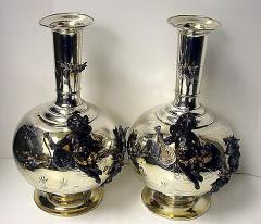 Pair of Mixed Metal Vases, 19th century, probably