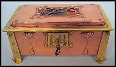 Arts and Crafts Enamel, Copper and Brass Box,