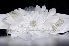 Bridal Belt of Satin Flower & Bugle Bead