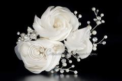 Wedding Clip of Satin Organza Flowers Pearls