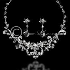 Crystal & Rhinestone Scrolls Wedding Necklace