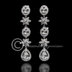 Oval Jewel Drop Bridal Earrings